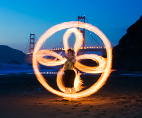 Antispin vs Extension Hybrid, Poi Fire Dancing