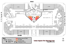 Reserved, VIP, Front Row seating and photographer's check in map for Union Square Fire Dancing Expo